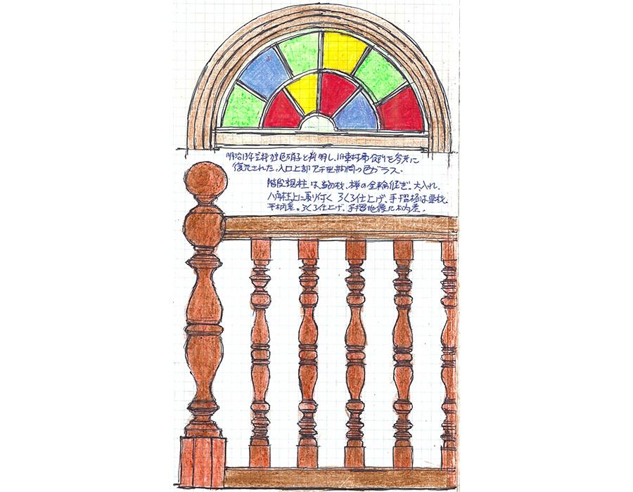 志村直愛 #02 山形市・旧済生館(さいせいかん)病院本館 色ガラスをはめこんだアーチ窓に轆轤(ろくろ)挽き技術を駆使した階段手すり