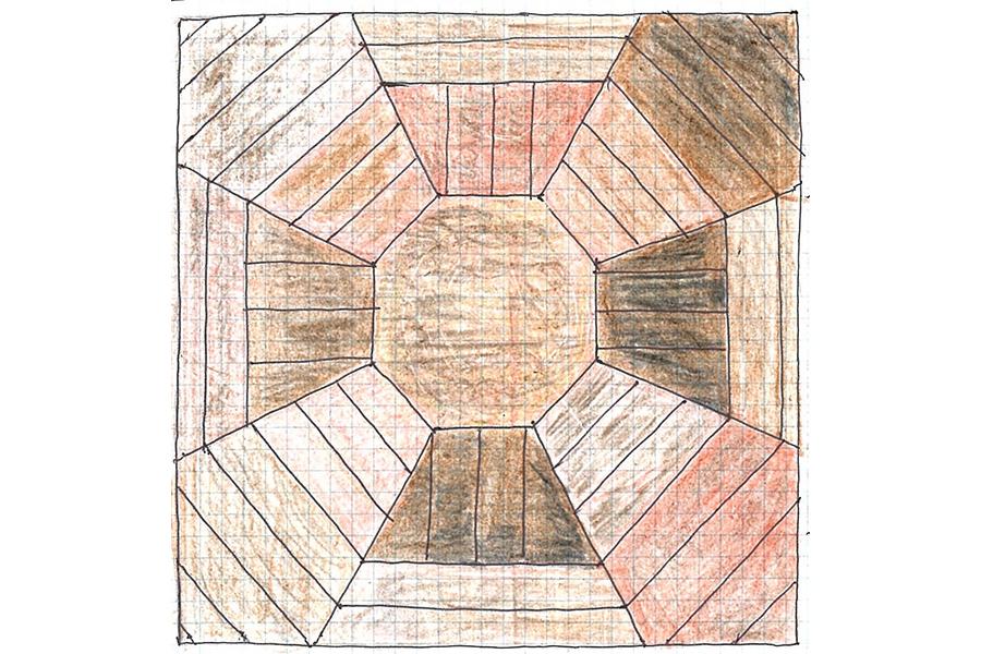 志村直愛 #02 山形市・旧済生館(さいせいかん)病院本館 最上階の塔屋にある、県産材を組み合わせた寄木の床