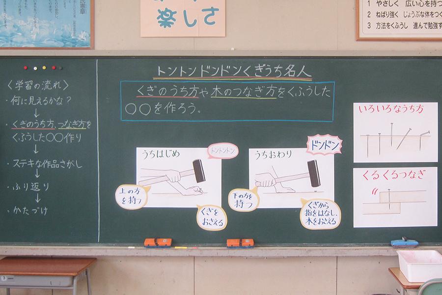 日本画コース卒業生で小学校教諭の小見七望さん 図工の授業の板書