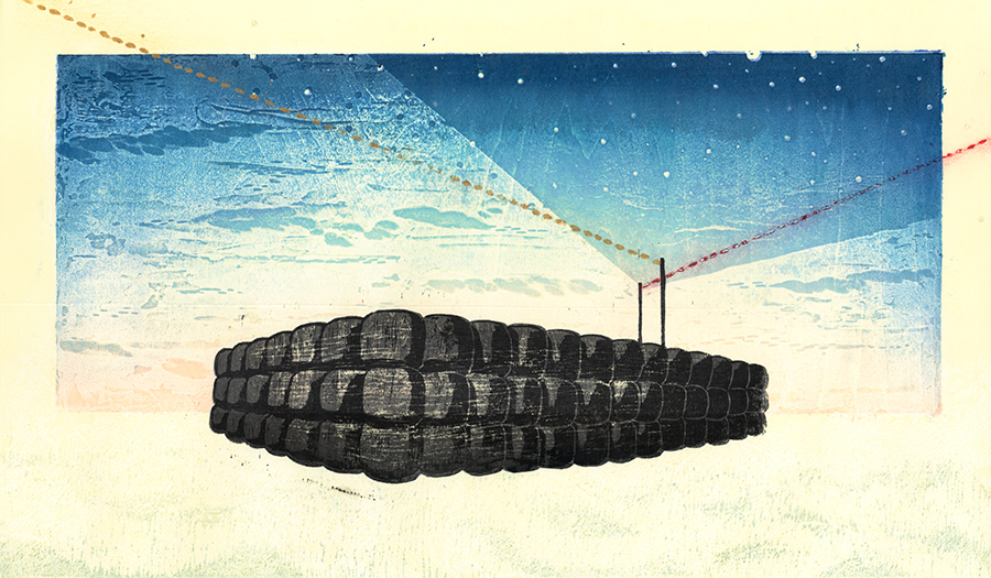 酪農アーティスト、版画家 下山明花さん 作品名《Space station -roll-》