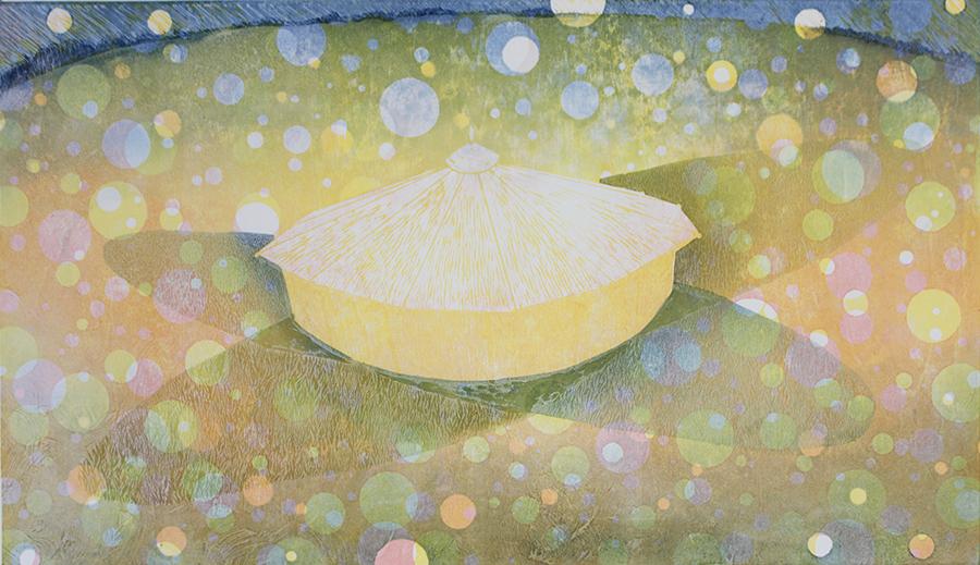 酪農アーティスト、版画家 下山明花さん 作品名《ゆめのようなよる》
